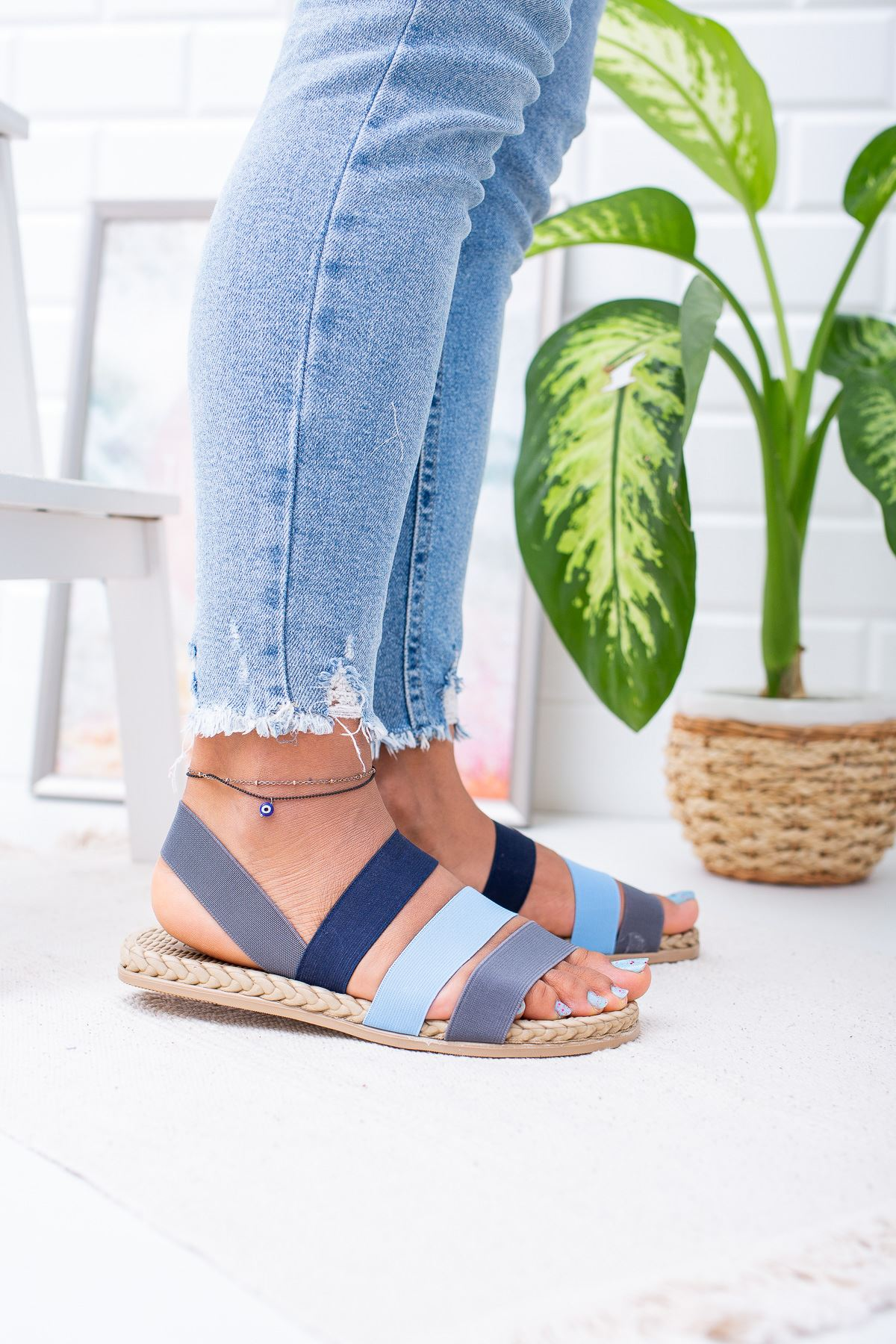 Sandey Gri Bebe Mavi Lacivert  Sandalet