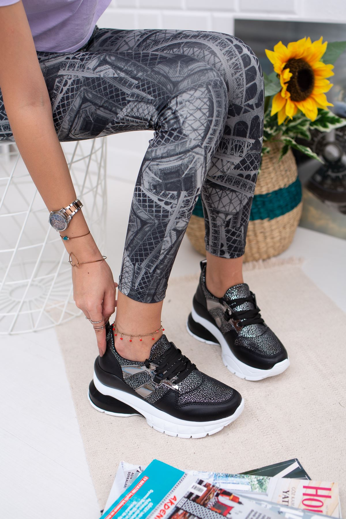 Lassie Siyah Yüksek Taban Ortapedik Bayan Spor Ayakkabı