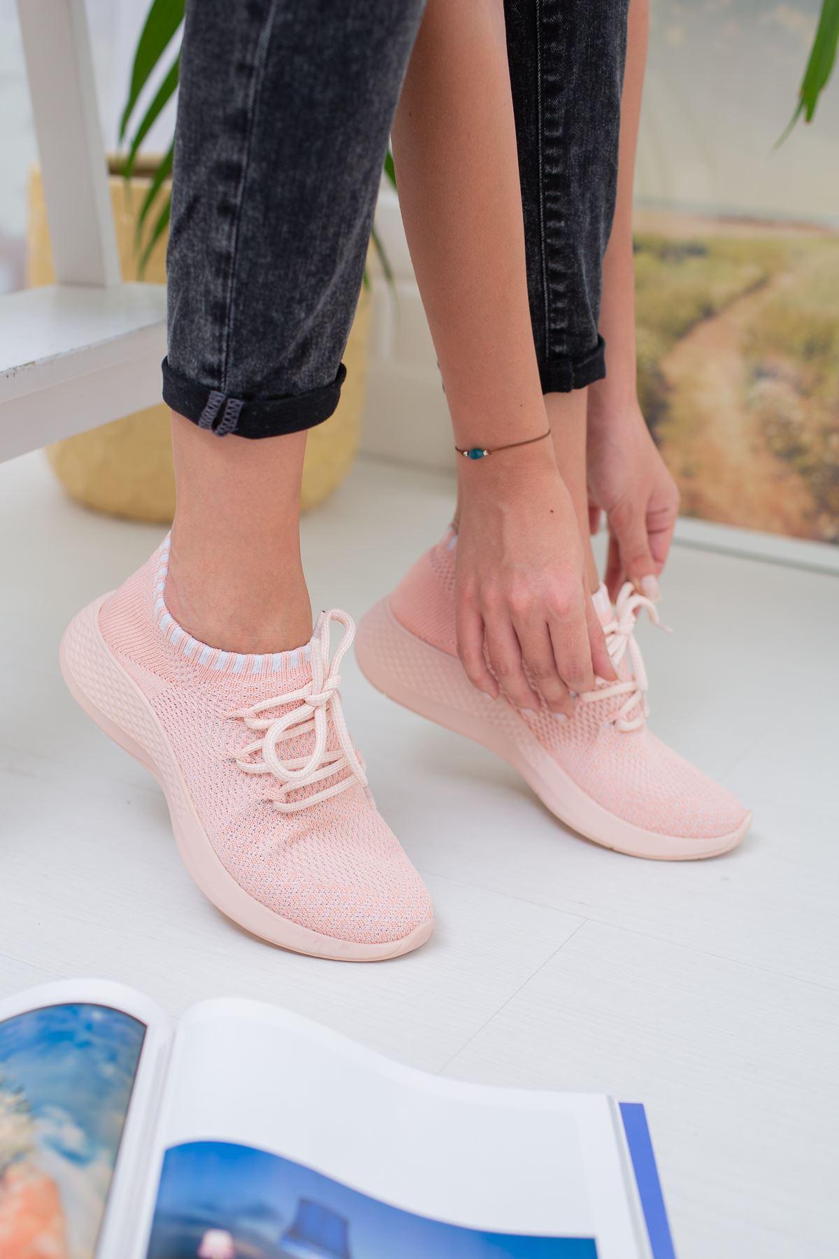 Aleyna Pembe Triko Kadın Spor Ayakkabı