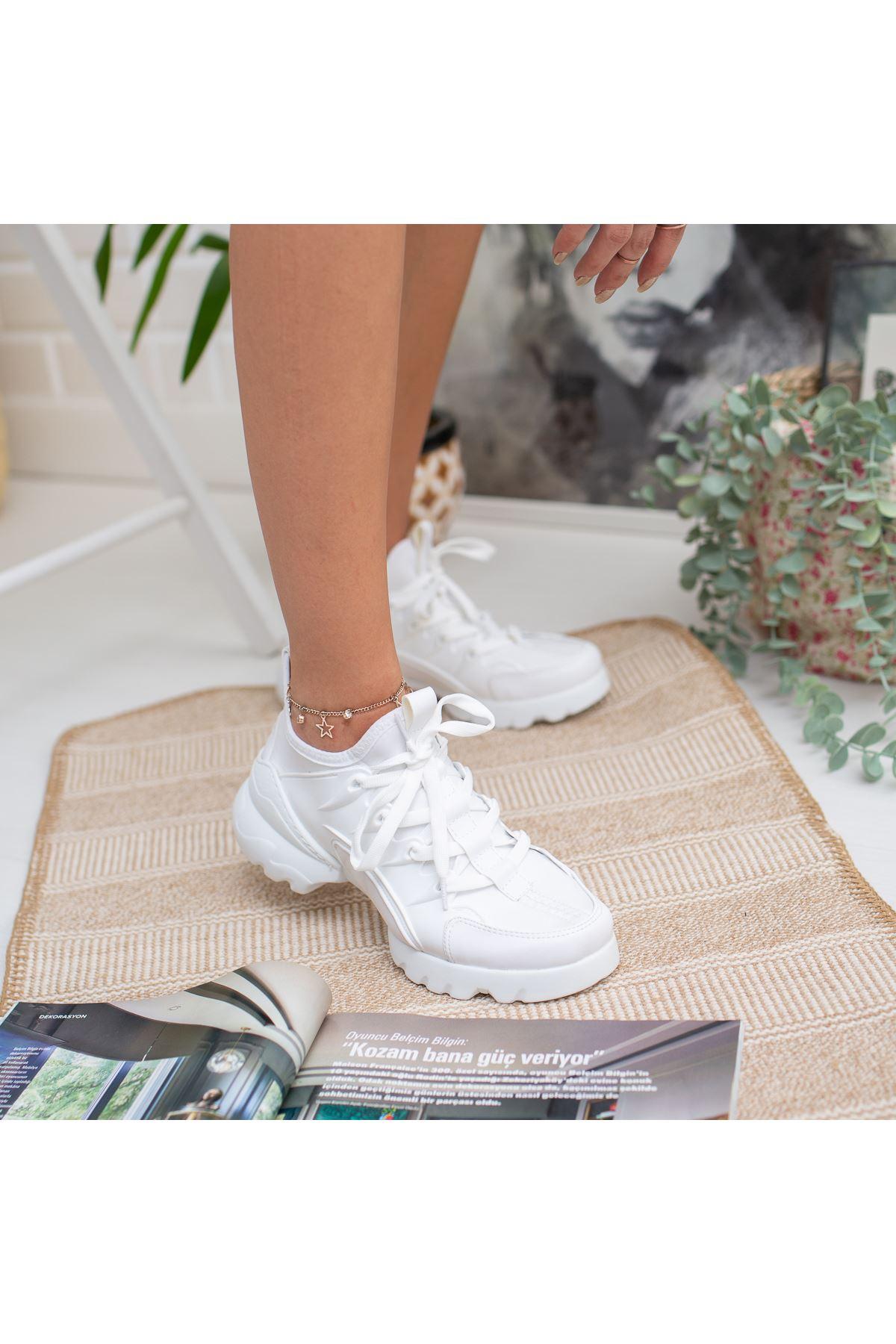 Nefel Beyaz Ortapedik Bayan Spor Ayakkabı