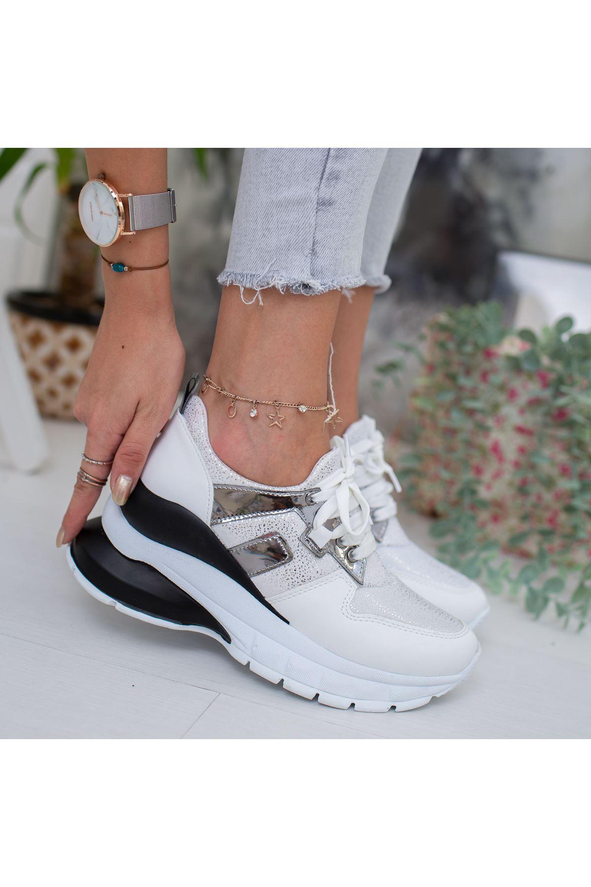 Dorsimo Beyaz Siyah Hologramlı Bayan Spor Ayakkabı