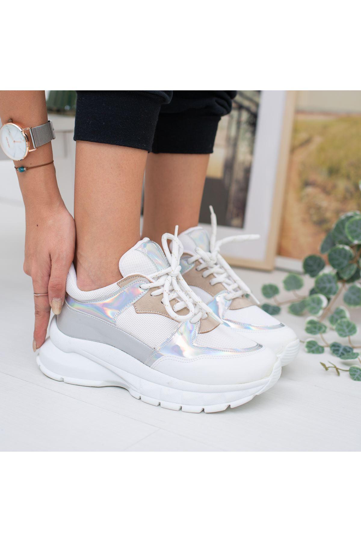Lezan Beyaz Gri Hologram Bayan Spor Ayakkabı