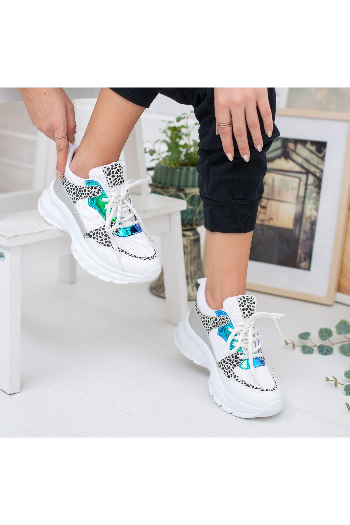 Lezan Ortapedik Beyaz Leopar Bayan Spor Ayakkabı