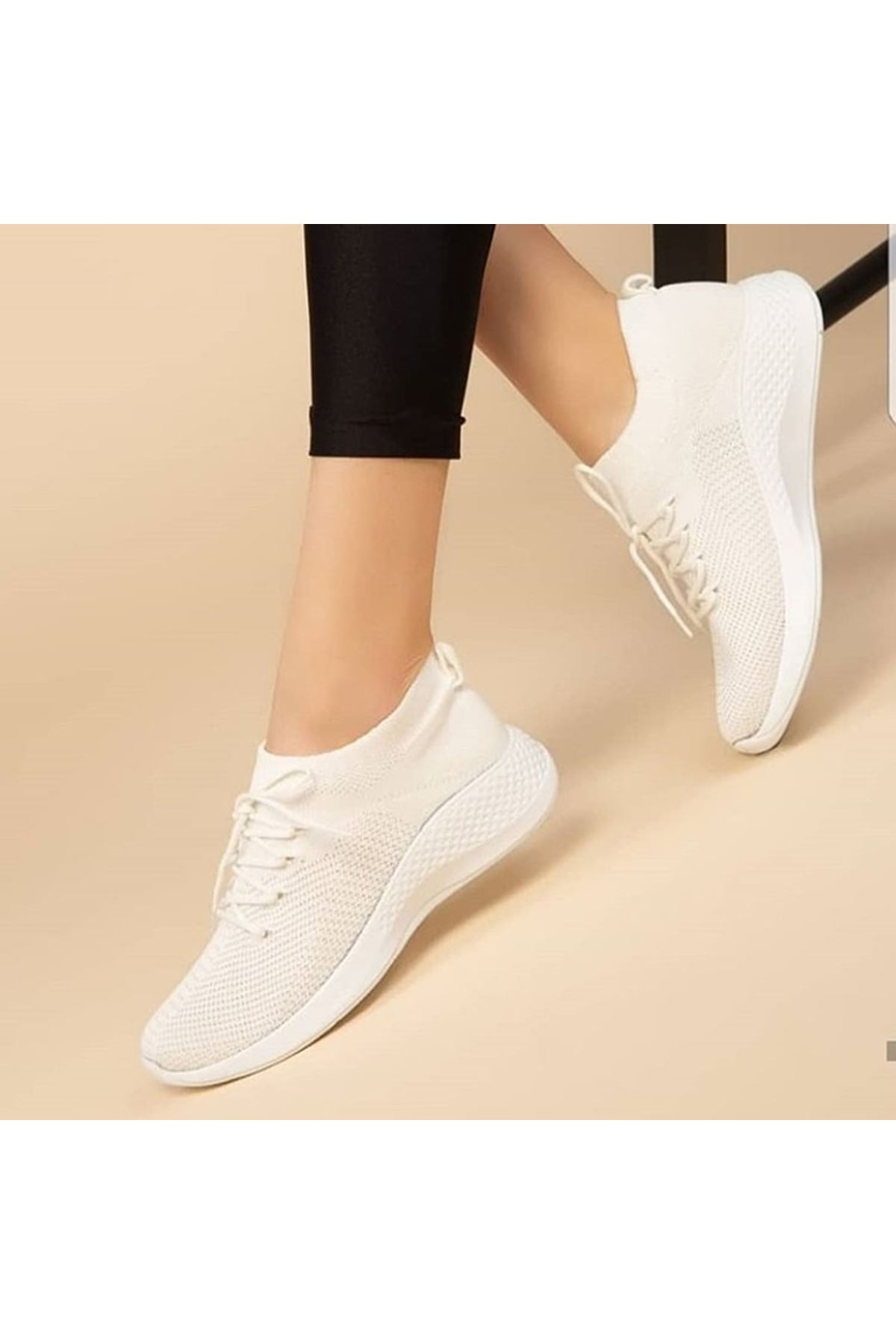 Aleyna Beyaz Triko Kadın Spor Ayakkabı