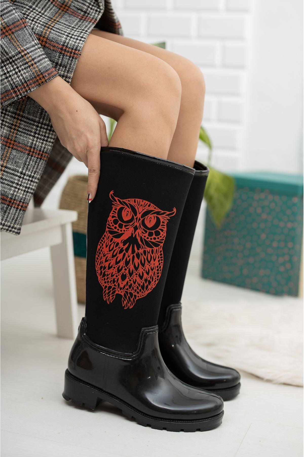 Rain Baykuş Desenli Yağmur Çizmesi Kırmızı