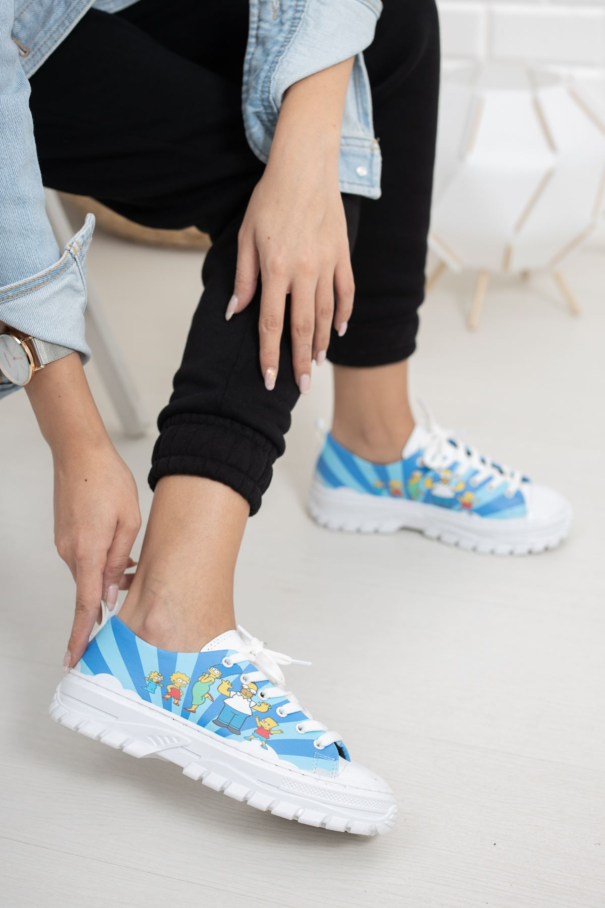 Bluie Mavi Figür Baskılı Kadın Spor Ayakkabı