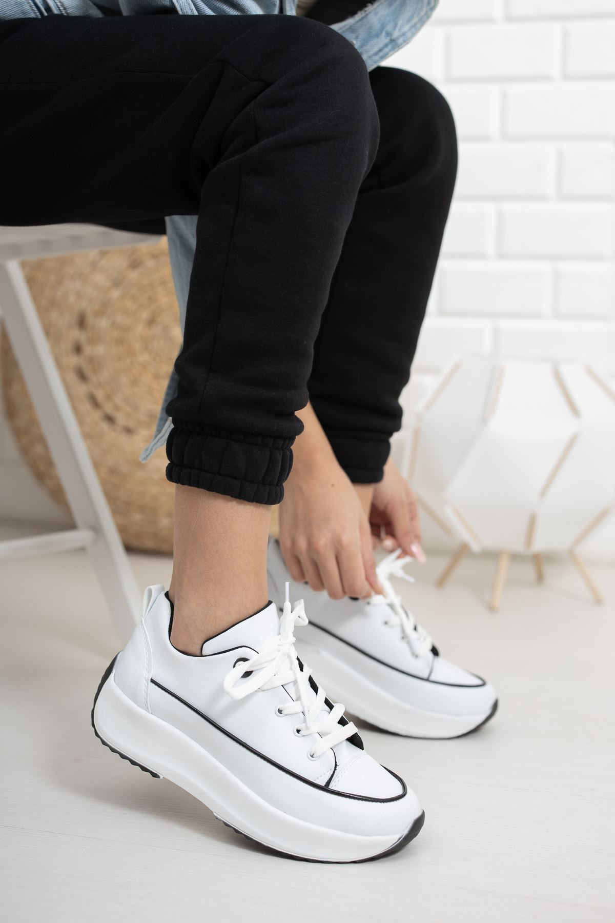 Gladiolia Beyaz Yüksek Taban Kadın Spor Ayakkabı
