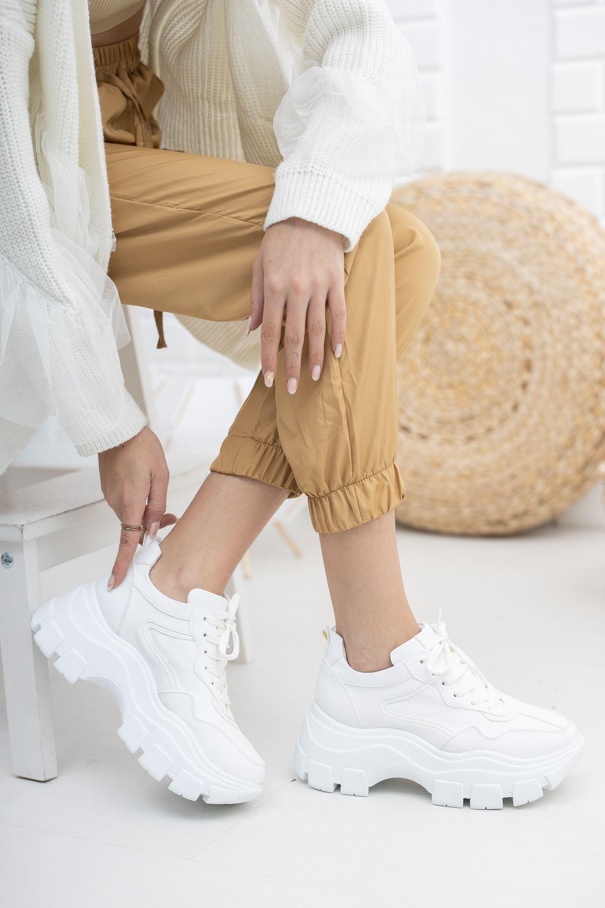 Juliet Beyaz Yüksek Taban Ortapedik Kadın Spor Ayakkabı