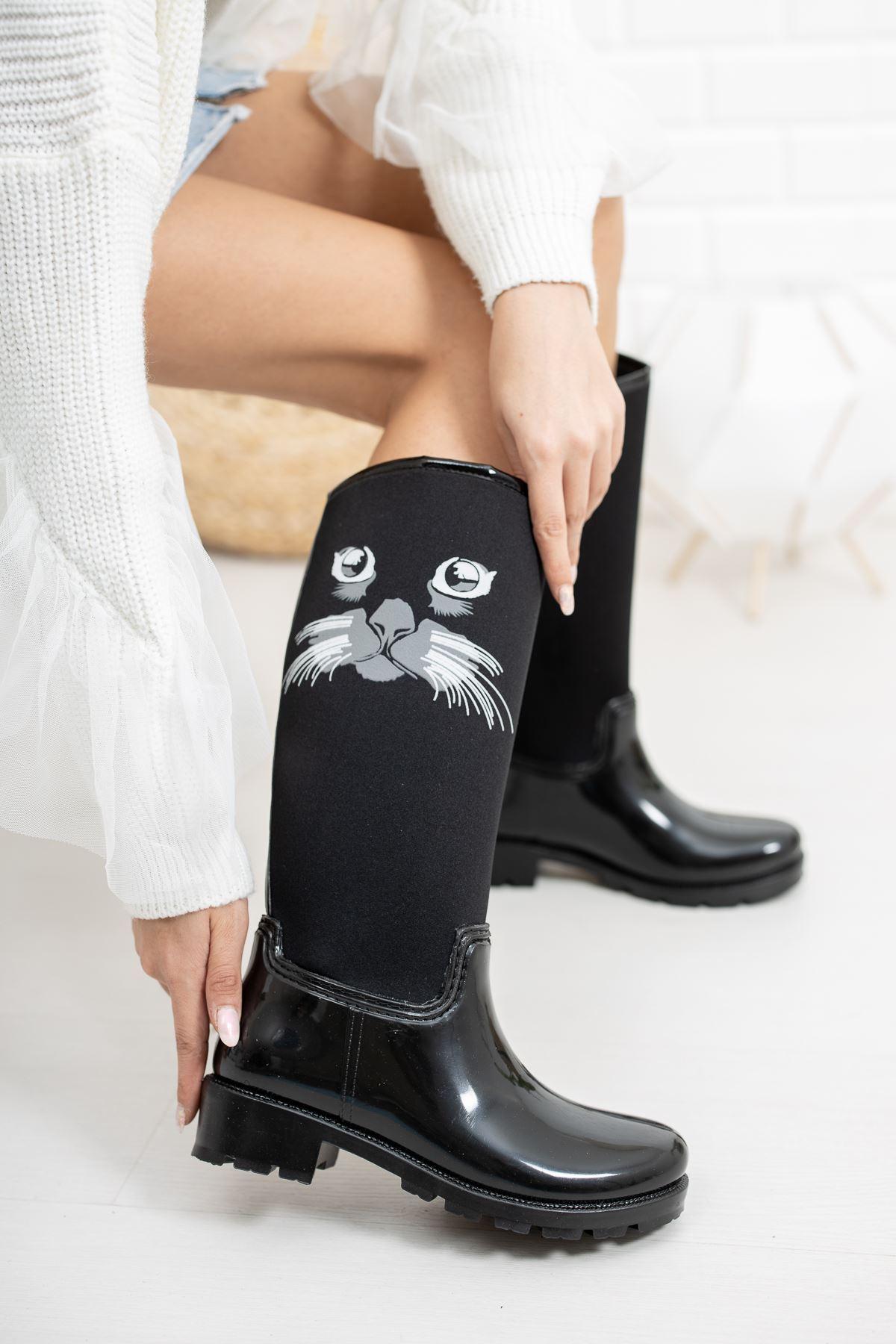 Rain Kedi Desenli Dalgıç Yağmur Çizmesi