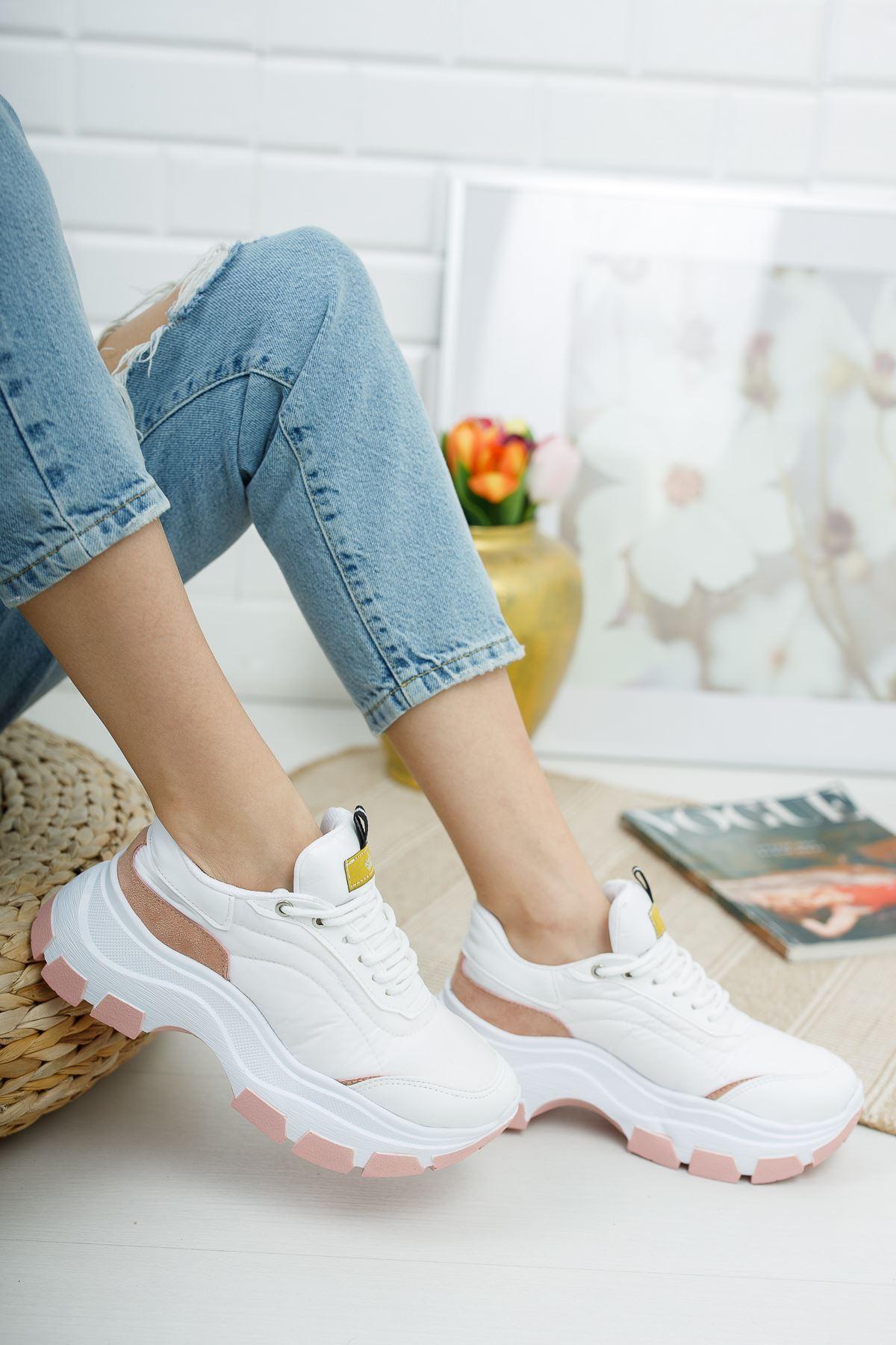 Aria Beyaz Pudra Kadın Spor Ayakkabı