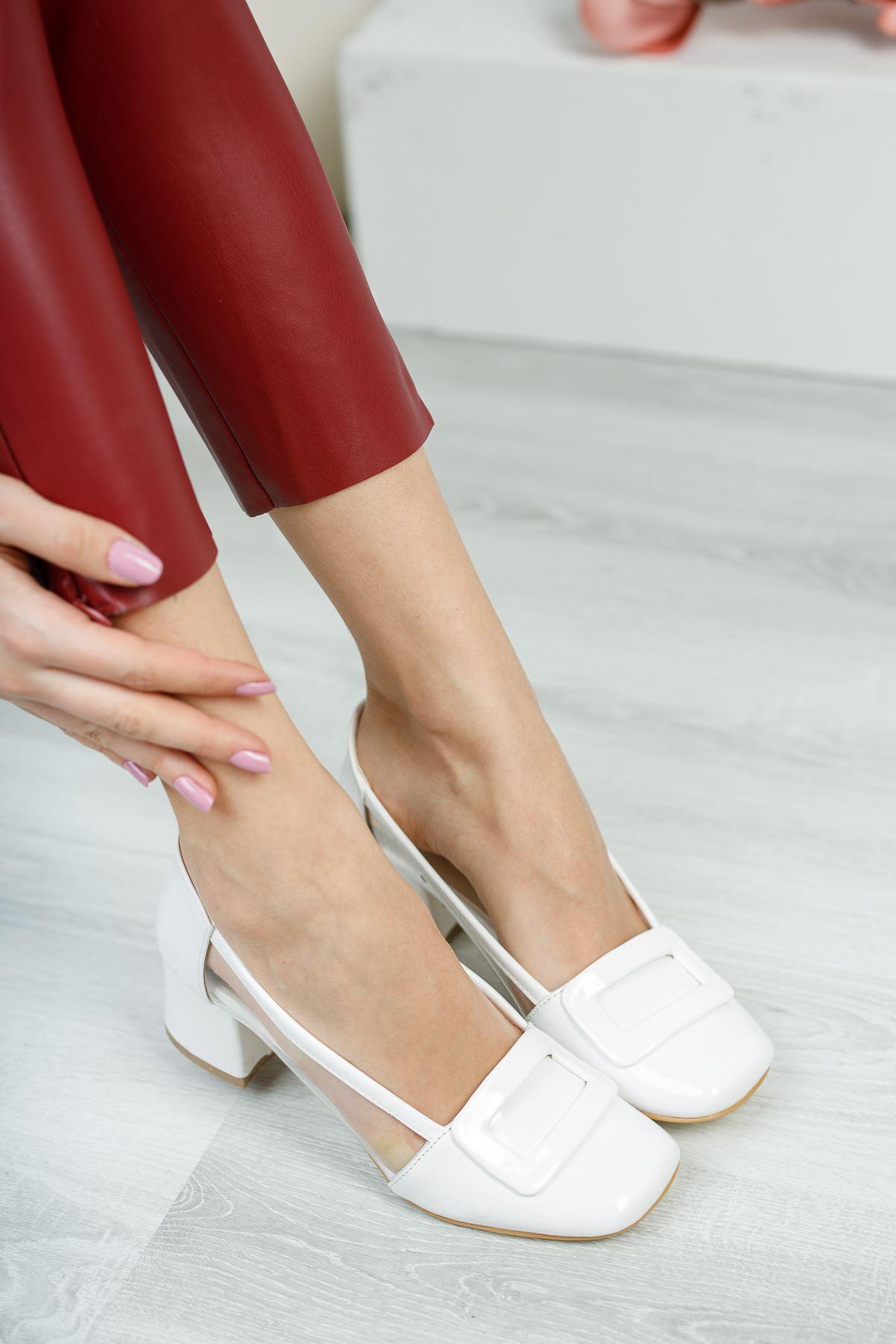 Rindek Lüks Beyaz Rugan Şeffaf Detay Yüksek Topuk Kadın Ayakkabı