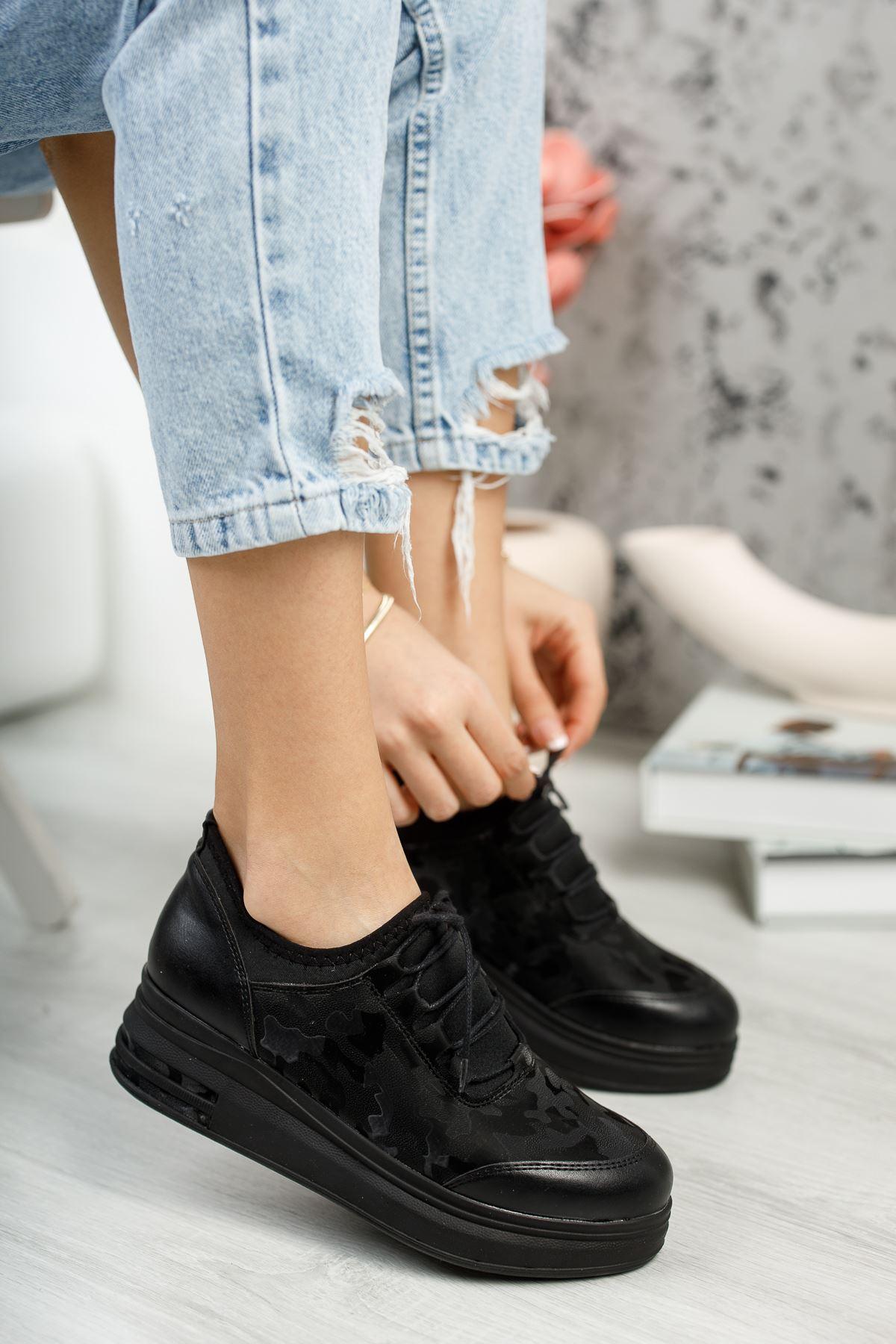 Zeytuni Siyah Ortapedik Siyah Taban  Siyah Desenli Bayan Spor Ayakkabı