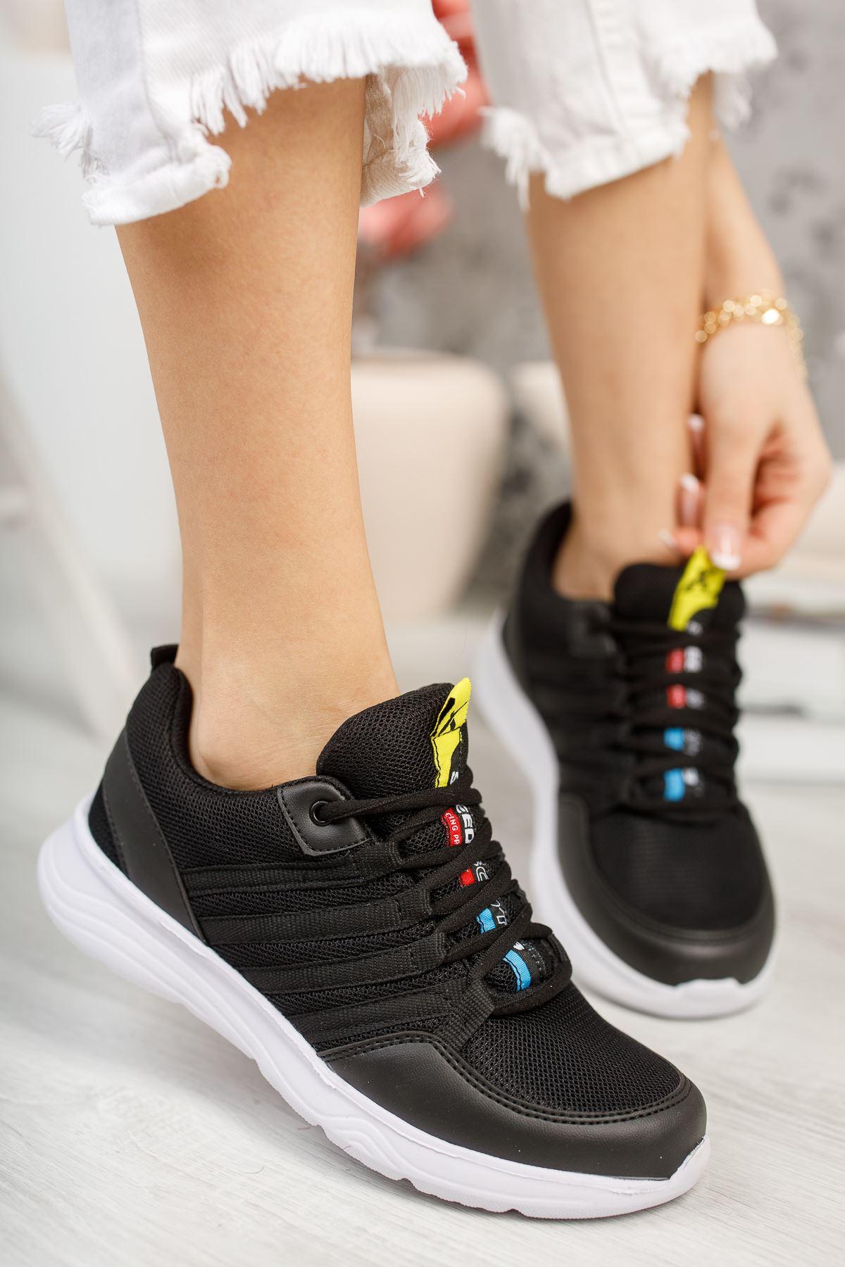 Paşi Siyah Beyaz Taban Kadın Spor Ayakkabı