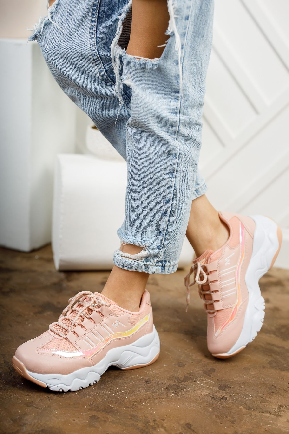 Dorşin Pudra-Beyaz Kadın Spor Ayakkabı