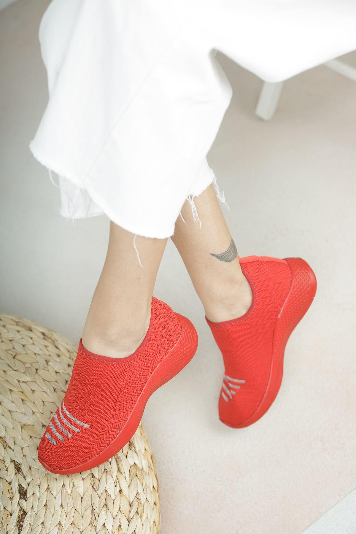 Vesna Kırmızı Bağcıksız Triko Kadın Spor Ayakkabı