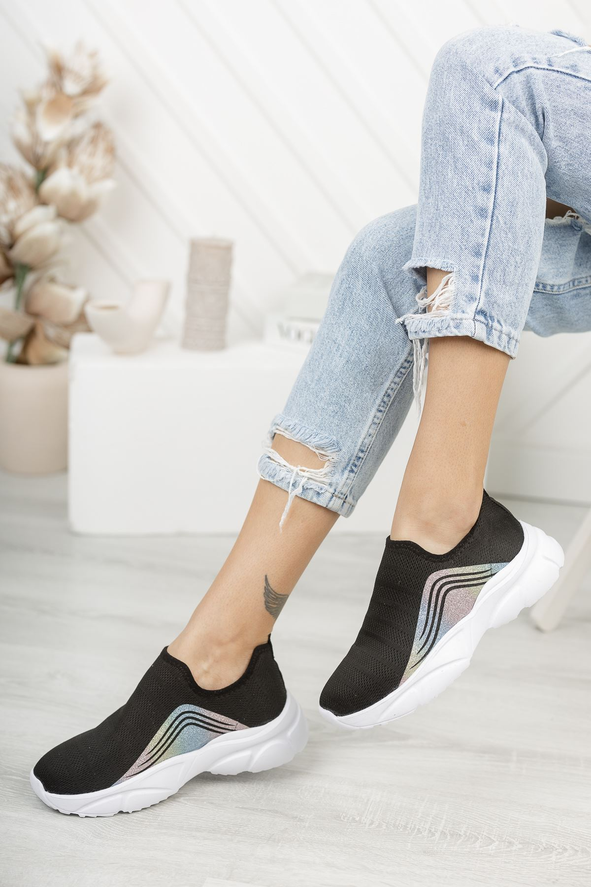 Vesna Siyah Bağcıksız Triko Kadın Spor Ayakkabı