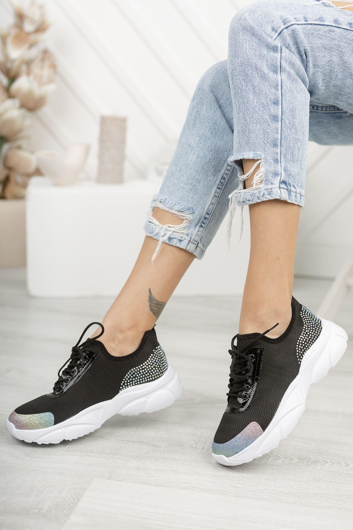Verda Siyah Simli Bağcıklı Triko Kadın Spor Ayakkabı