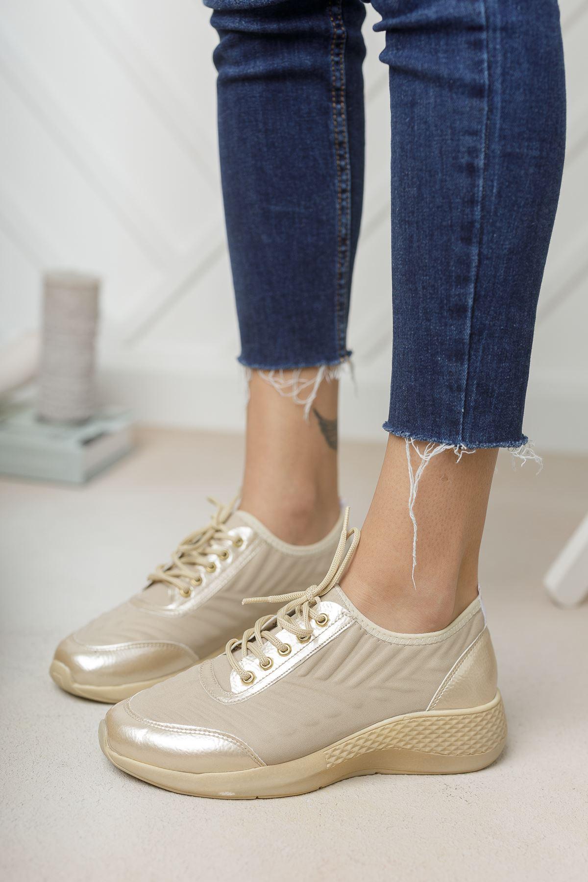 Verda Vizon Parlak Bağcıklı Triko Kadın Spor Ayakkabı