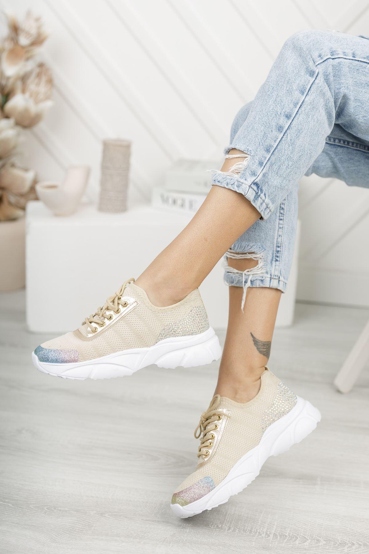 Verda Vizon Simli Bağcıklı Triko Kadın Spor Ayakkabı