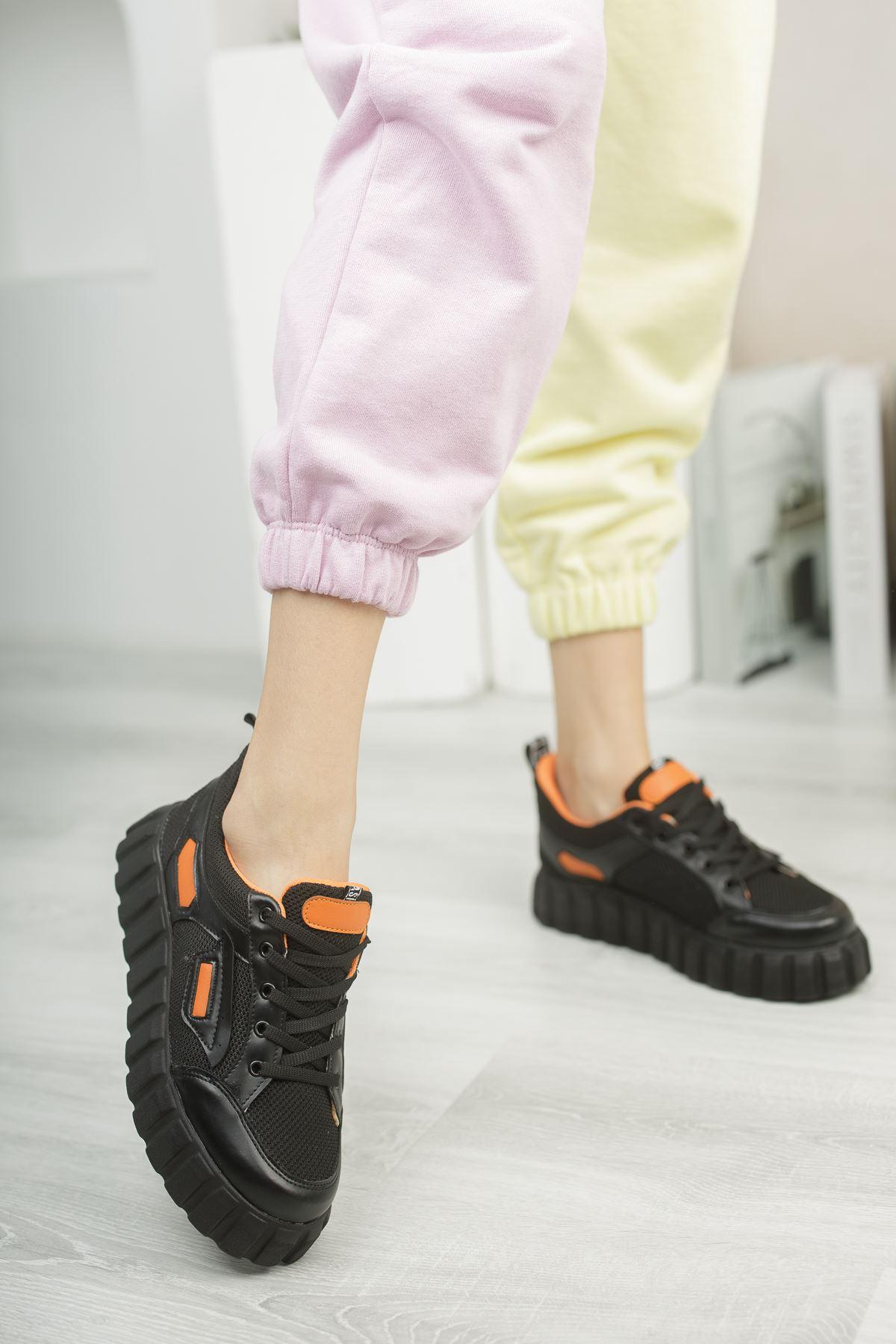 Hesti Siyah Turuncu Kadın Spor Ayakkabı