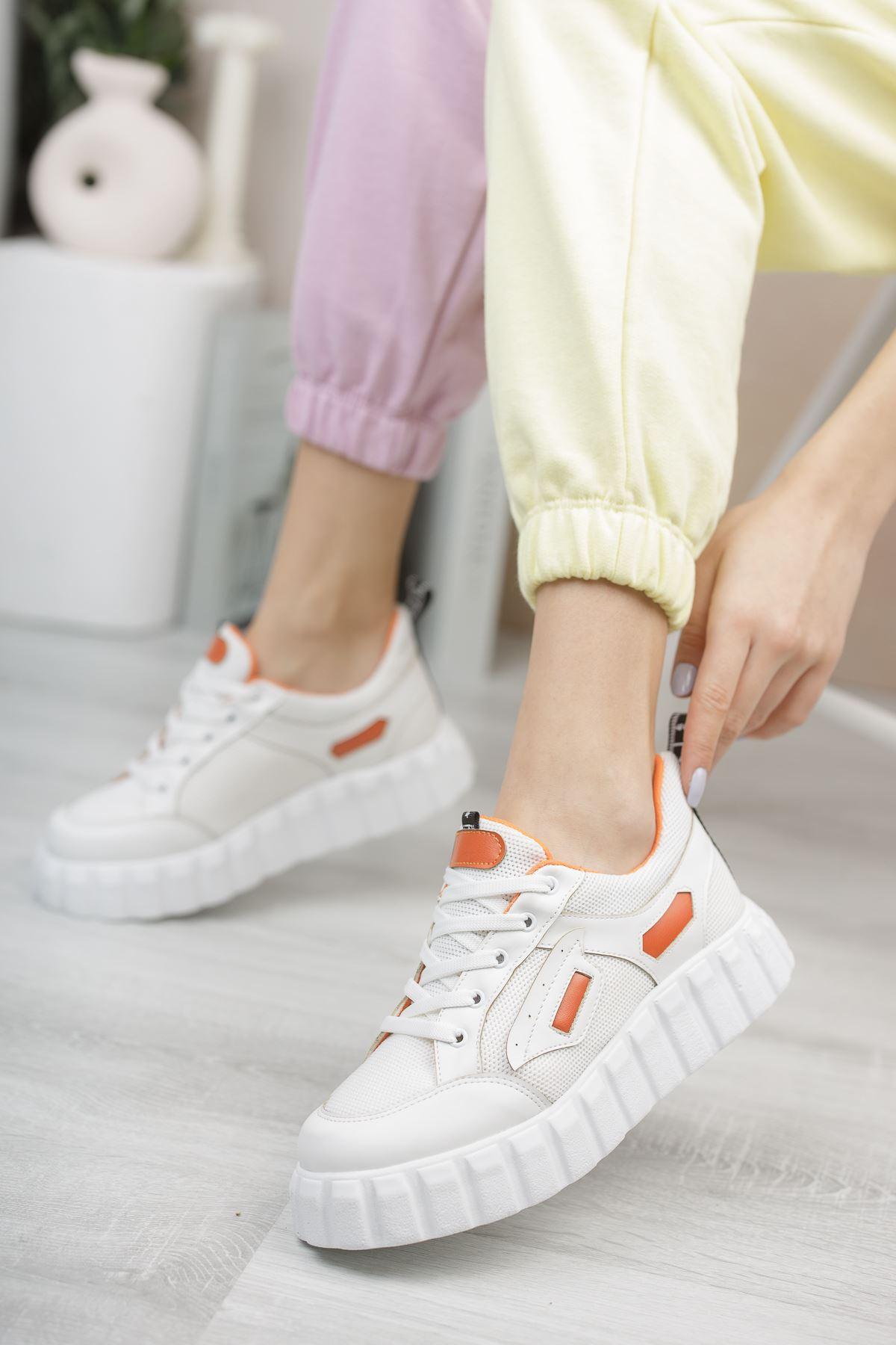 Hesti Beyaz Turuncu Kadın Spor Ayakkabı