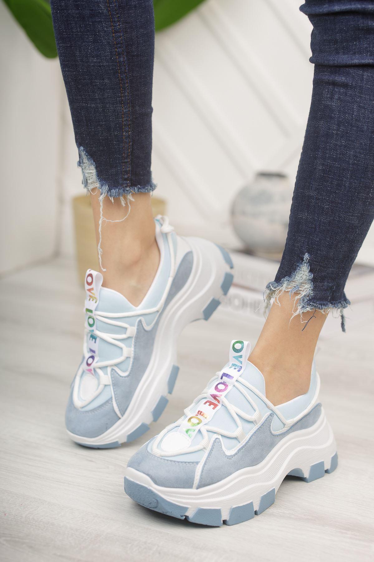 Aria Bebe Mavisi Süet Kadın Spor Ayakkabı