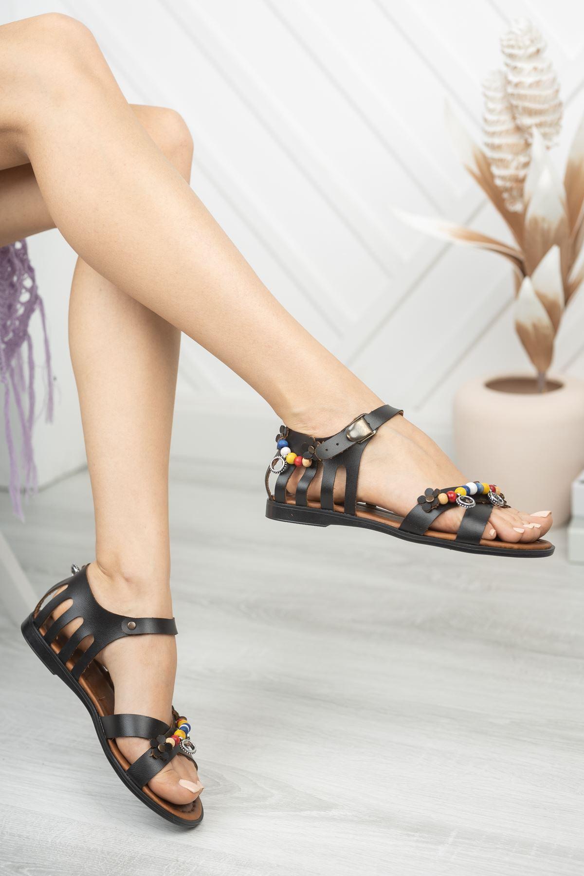 Benita Hakiki Deri Siyah Günlük Kadın Sandalet