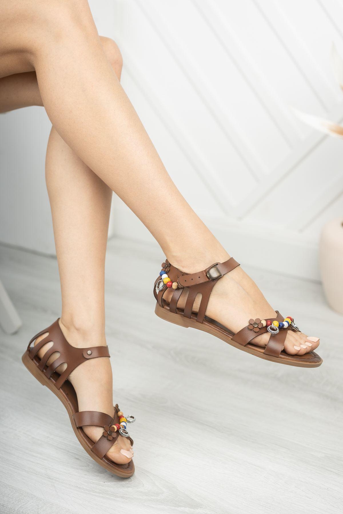 Benita Hakiki Deri Kahverengi Günlük Kadın Sandalet