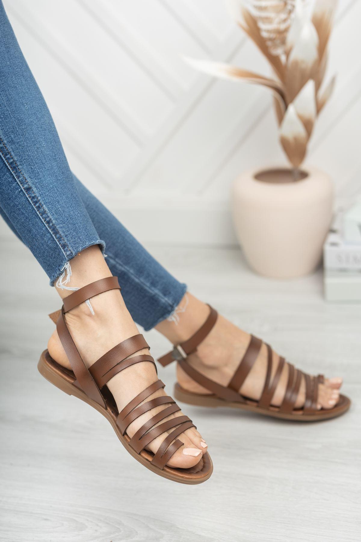 Berry Hakiki Deri Kahverengi Günlük Kadın Sandalet