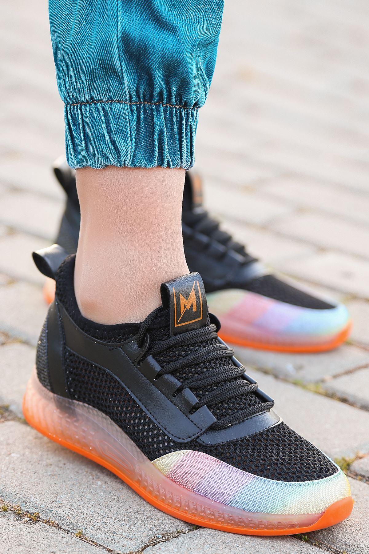 Jenny Siyah Gökkuşağı Triko Kadın Ayakkabı
