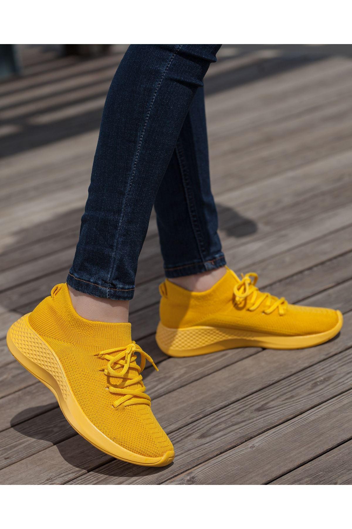 Aleyna Sarı Triko Kadın Spor Ayakkabı
