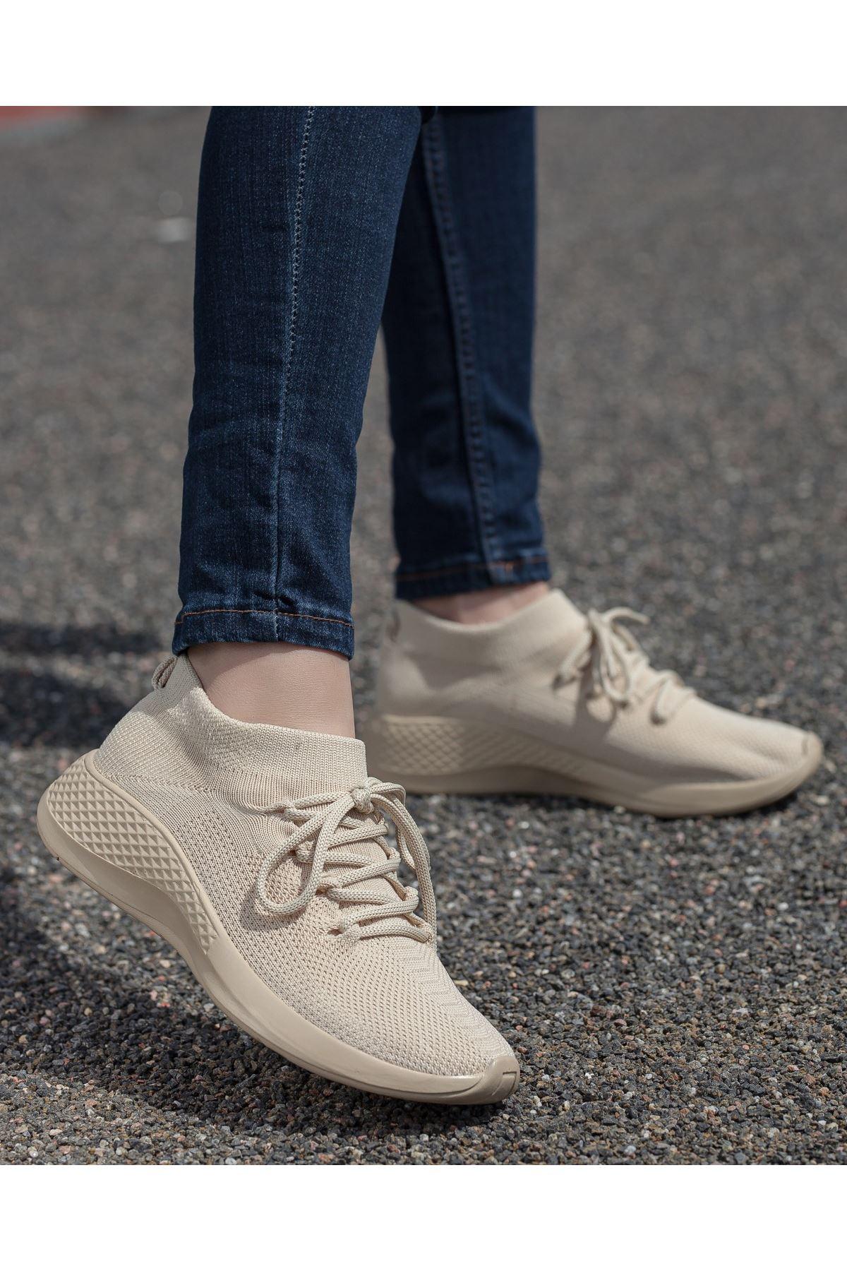 Aleyna Vizon Triko Kadın Spor Ayakkabı