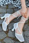Fanny Beyaz Fileli İnce Topuklu Kadın Ayakkabı