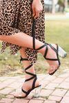 Rosie Siyah Şeffaf Bantlı Kalın Topuklu Kadın Ayakkabı
